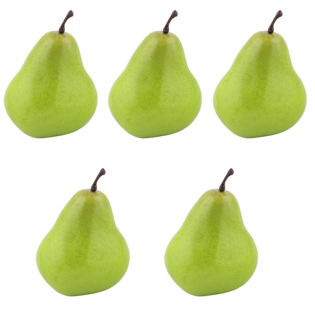 House Table Decor Foam Artificial Pear Designed Emulation Fruit Mold Green 5pcs