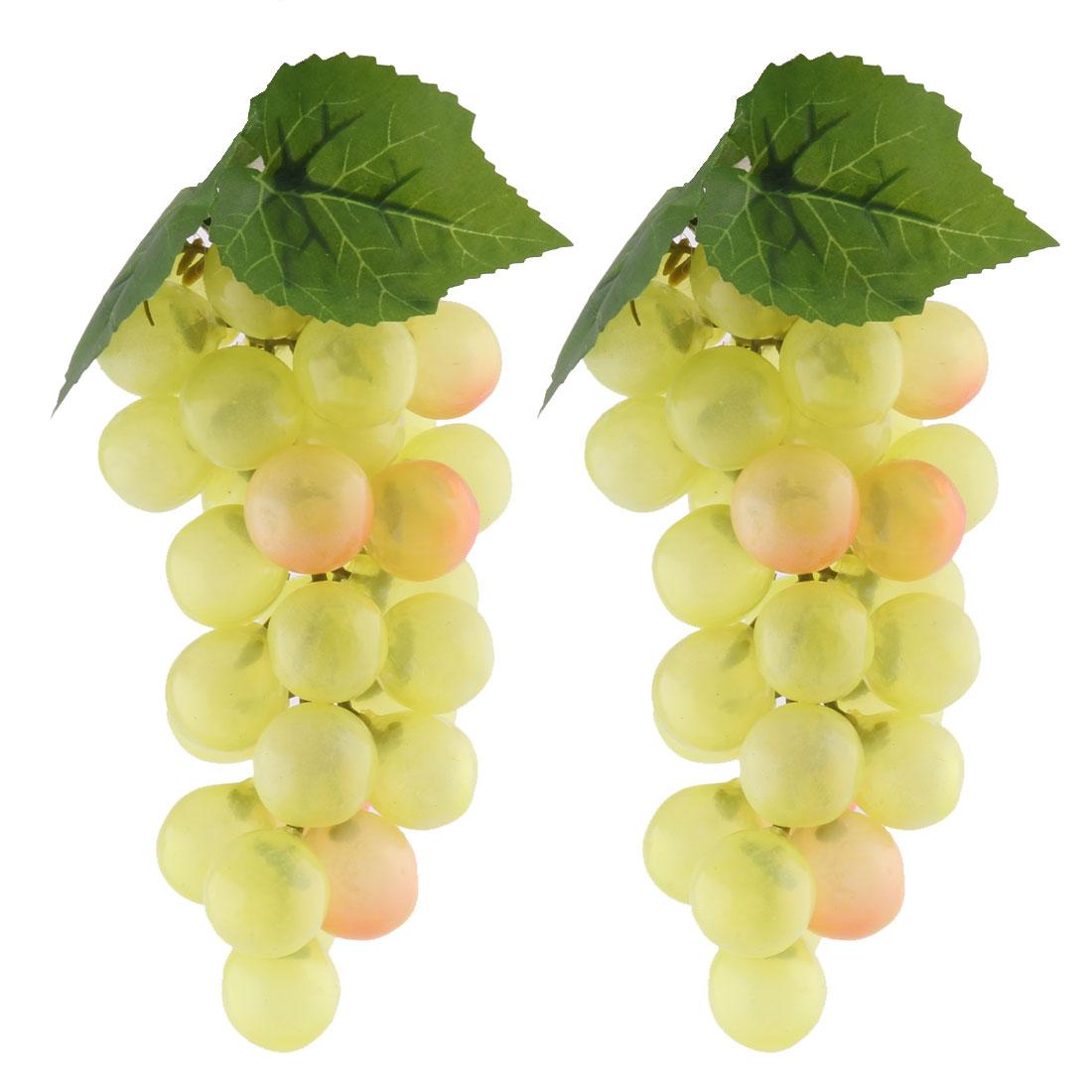 Home Desk Decor Plastic Artificial Grape Designed Emulation Fruit Light Yellow 2pcs