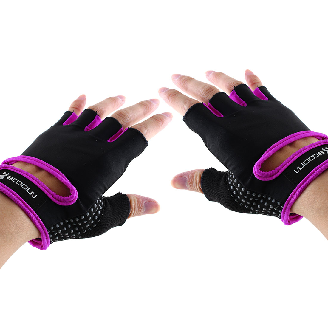 BOODUN Authorized Adult Unisex Spandex Adjustable Sports Training Workout Mittens Fitness Gloves Purple M Pair