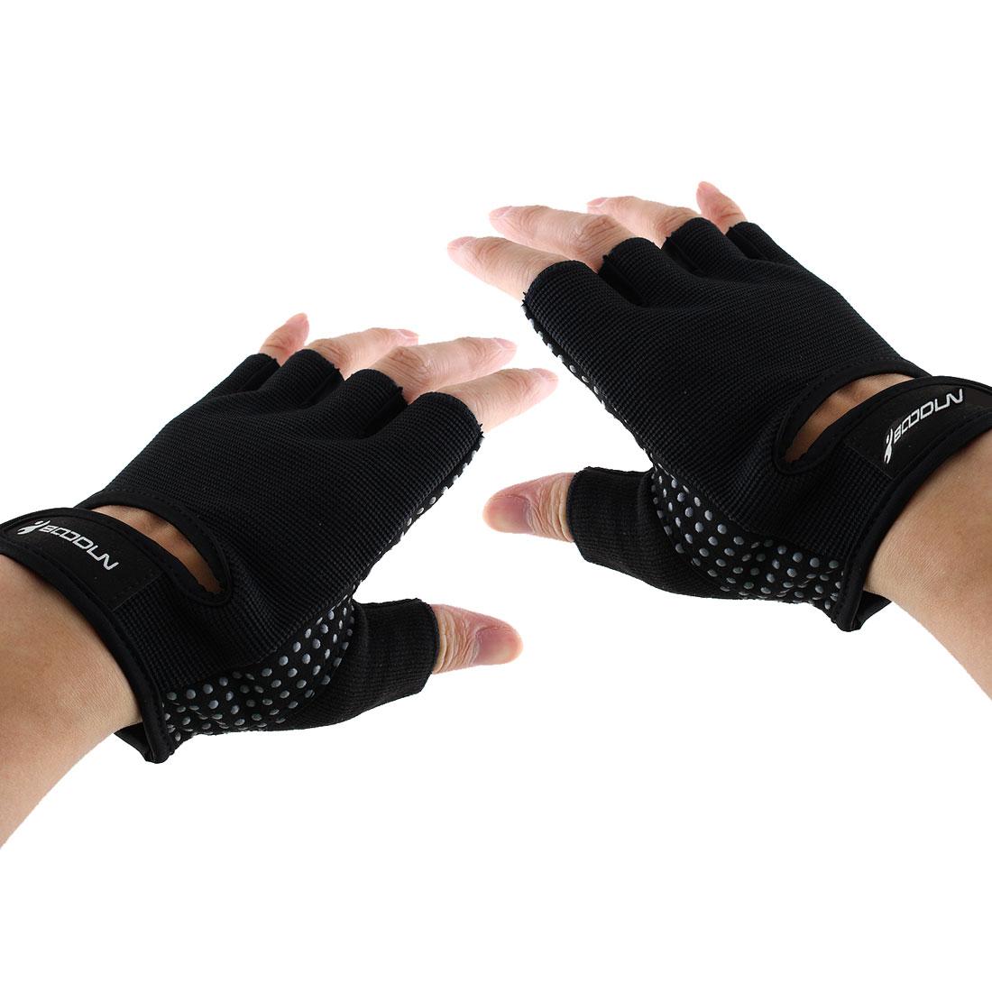 BOODUN Authorized Adult Unisex Spandex Adjustable Sports Training Workout Mittens Fitness Gloves Black XL Pair