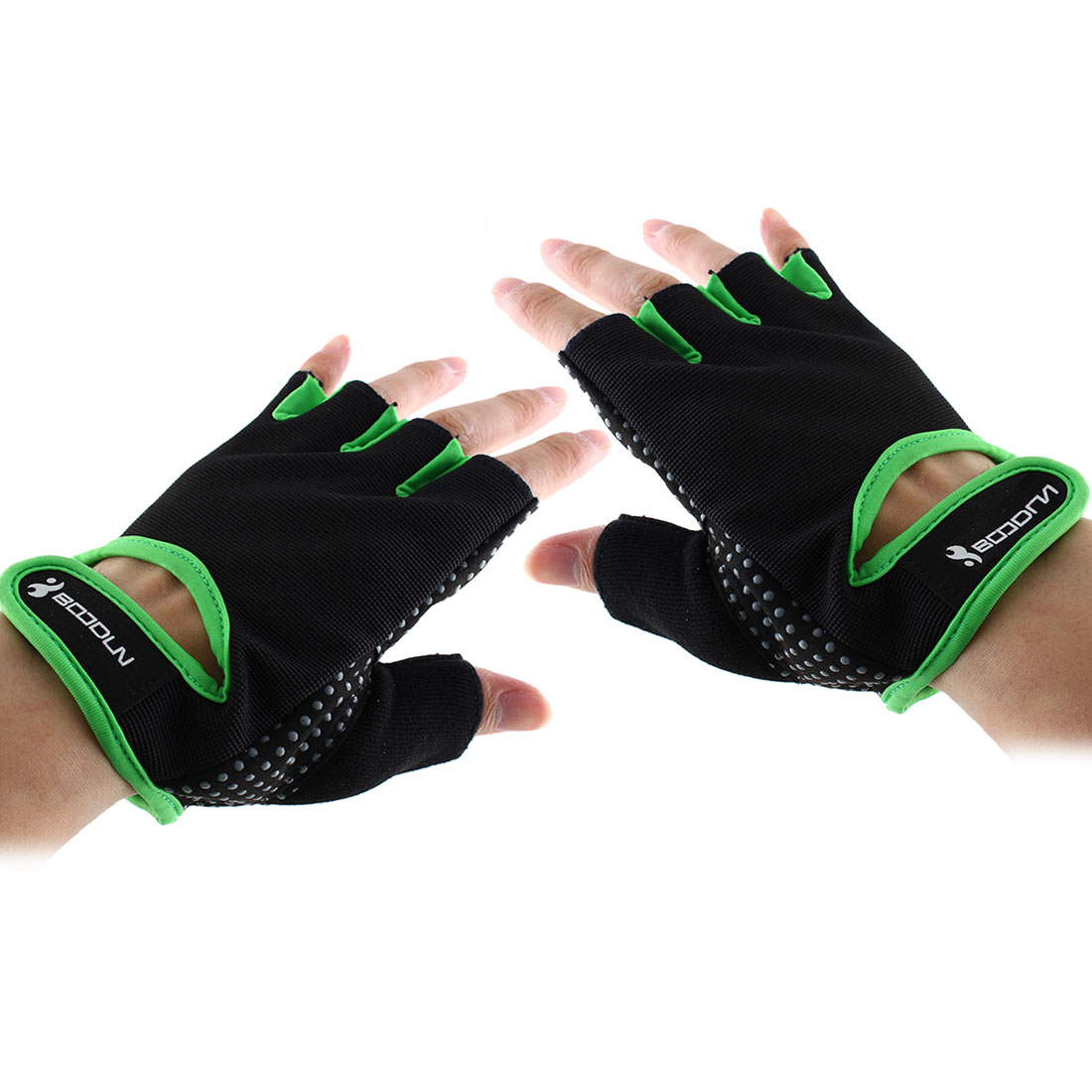 BOODUN Authorized Adult Unisex Spandex Adjustable Sports Training Workout Mittens Fitness Gloves Green M Pair