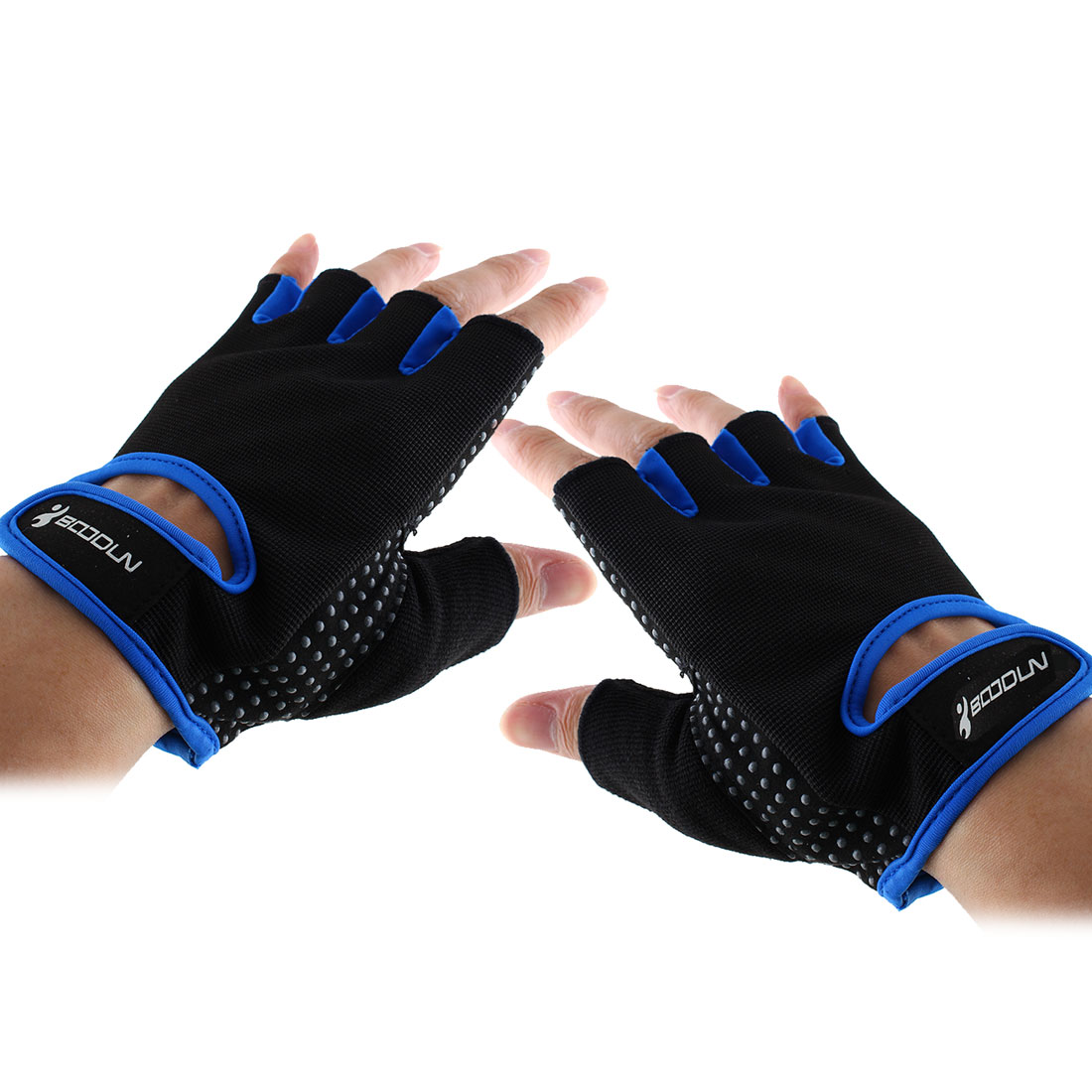 BOODUN Authorized Adult Unisex Spandex Adjustable Sports Training Workout Mittens Fitness Gloves Blue L Pair
