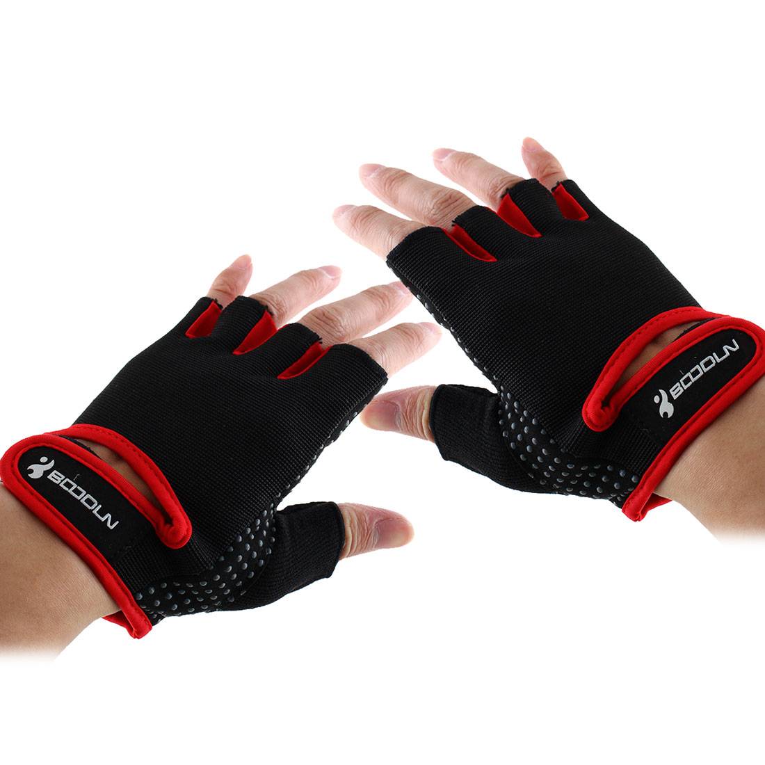 BOODUN Authorized Adult Unisex Spandex Adjustable Sports Training Workout Mittens Fitness Gloves Red L Pair