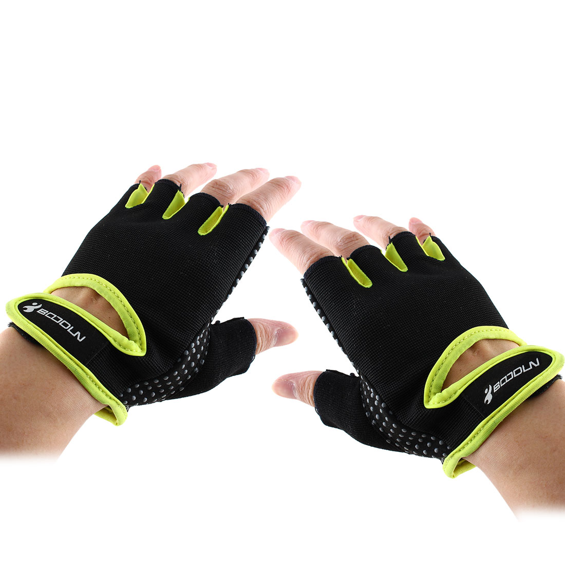 BOODUN Authorized Adult Unisex Spandex Adjustable Sports Training Workout Mittens Fitness Gloves Fluorescent Yellow M Pair