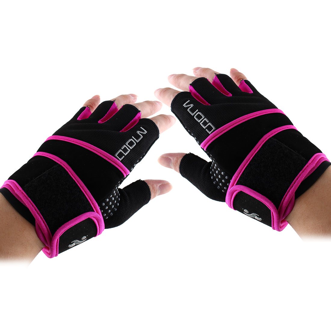 Boodun Authorized Sports Weight Lifting Training Gym Workout Fitness Embroidery Adjustable Anti Slip Half Finger Gloves Purple Size S Pair