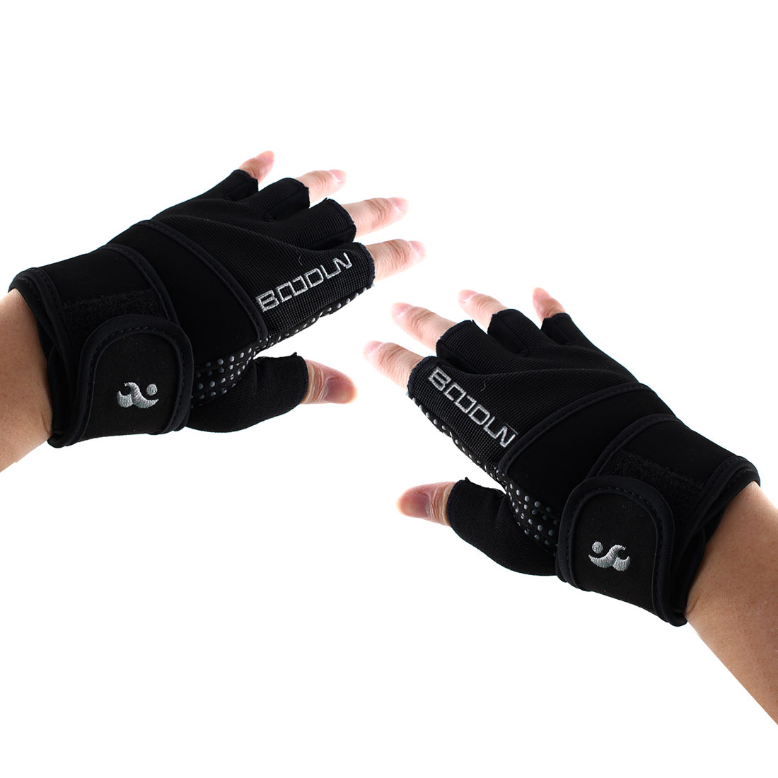 Boodun Authorized Sports Weight Lifting Training Gym Workout Fitness Embroidery Adjustable Anti Slip Half Finger Gloves Silver Tone Size L Pair