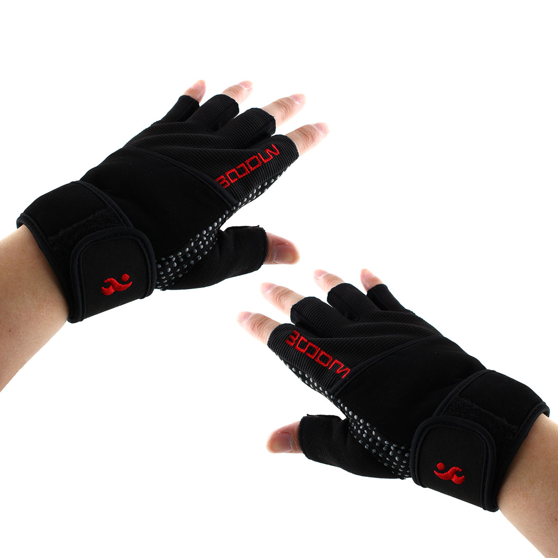 Boodun Authorized Sports Weight Lifting Training Gym Workout Fitness, Embroidery Adjustable Anti Slip, Half Finger Gloves Red Size L Pair