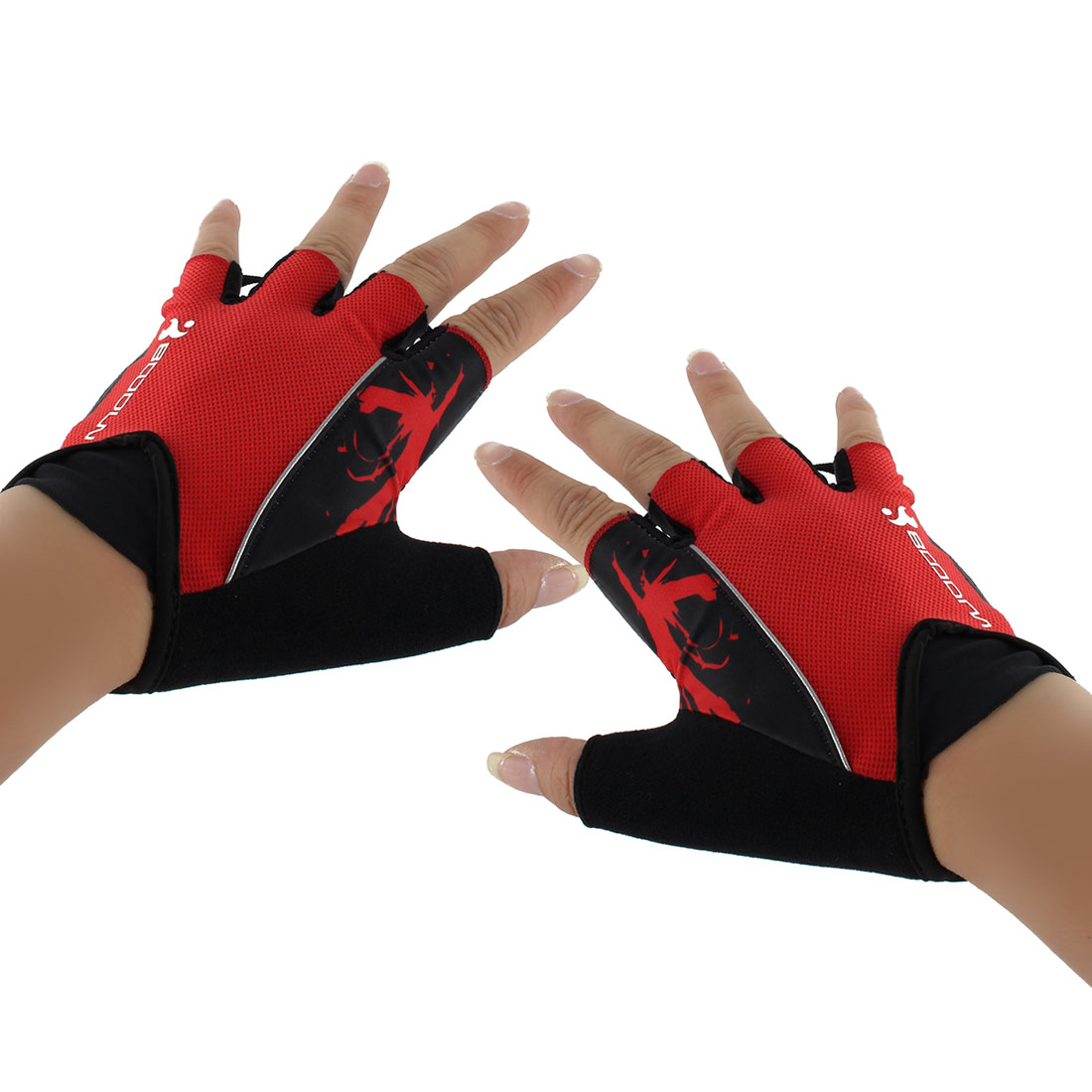 Polyester Exercise Sports Weightlifting Training Workout Protector Half Finger Fitness Gloves Red S Pair