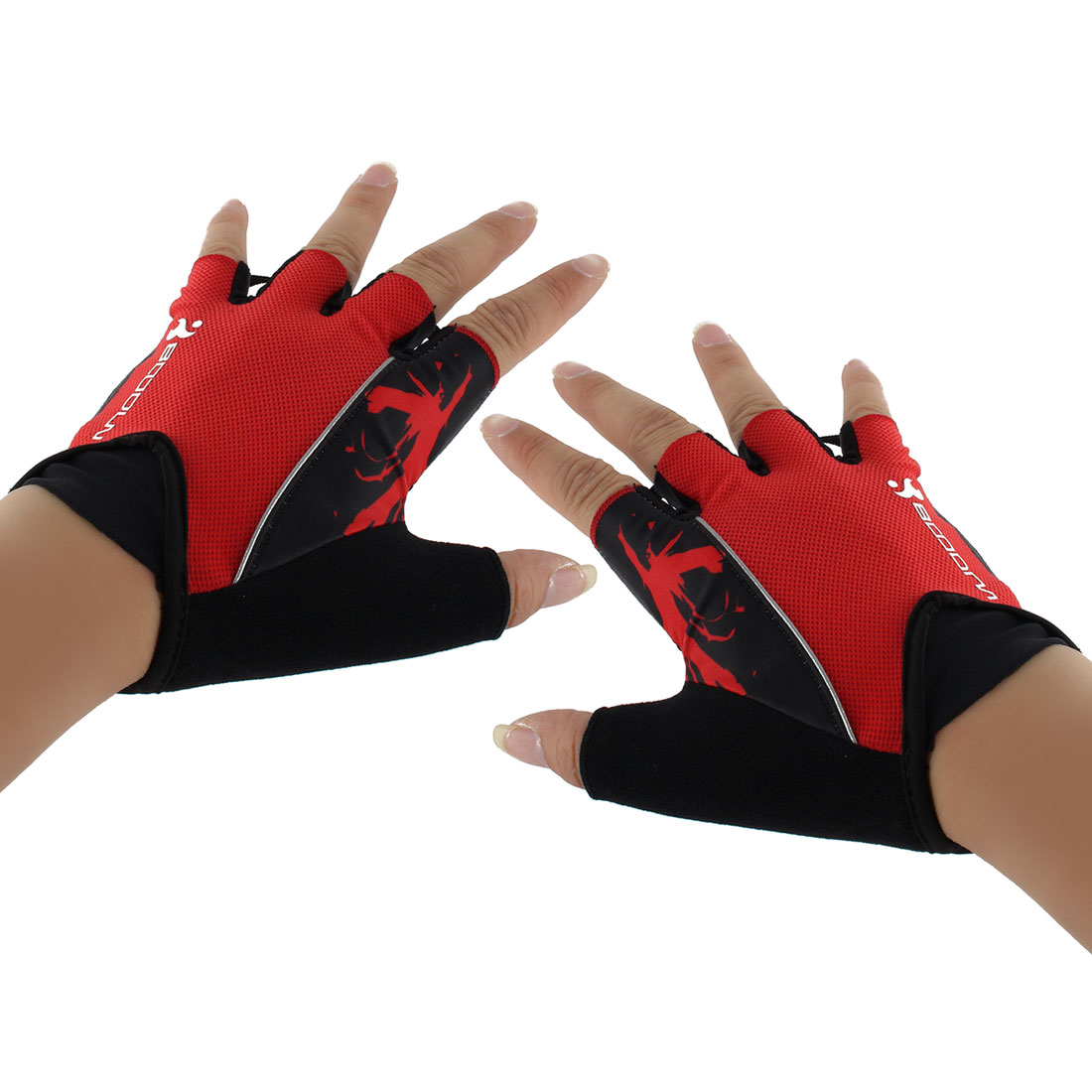 Polyester Exercise Sports Weightlifting Training Workout Protector Half Finger Fitness Gloves Red L Pair