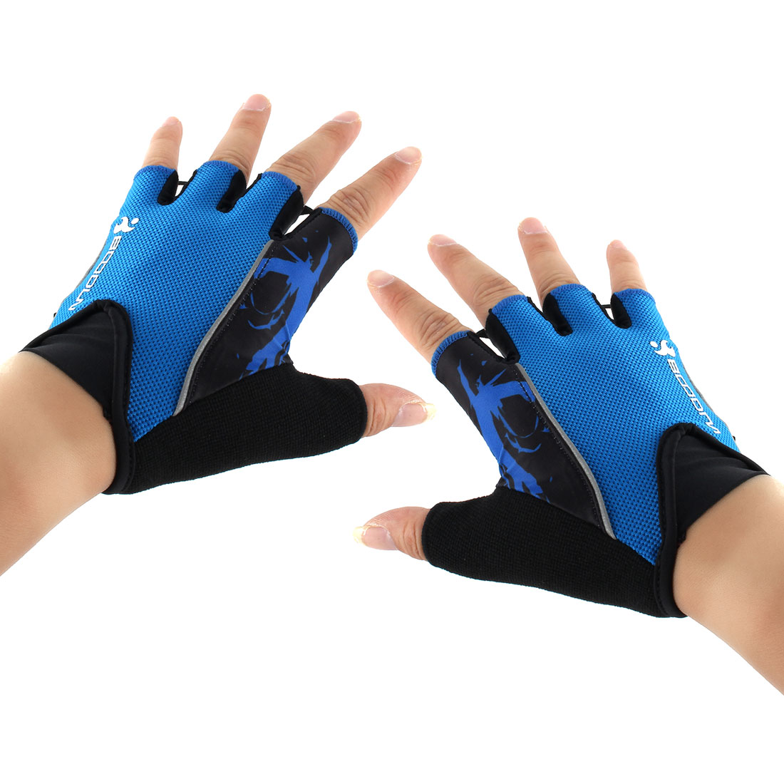 Polyester Exercise Sports Weightlifting Training Workout Protector Half Finger Fitness Gloves Blue L Pai