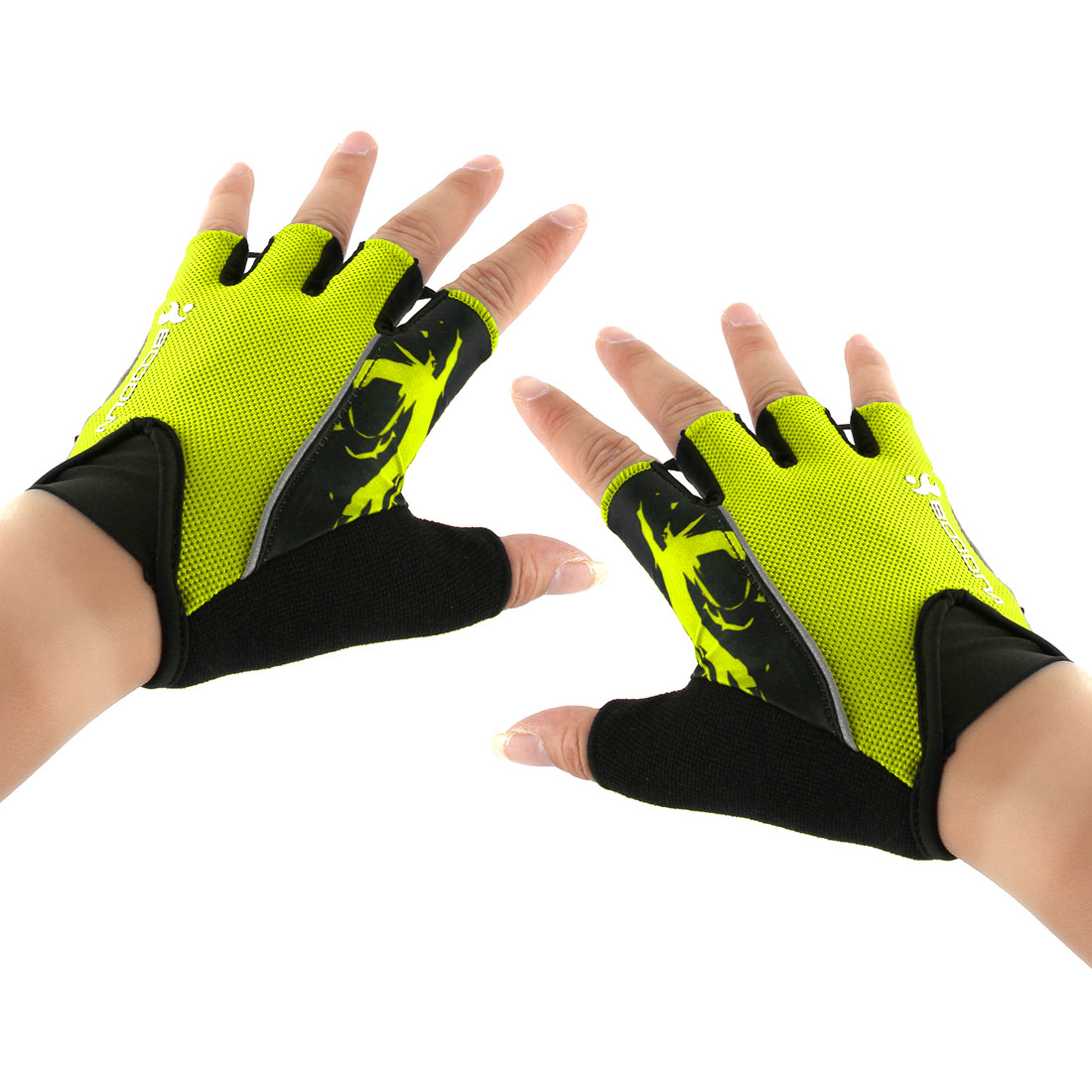 Polyester Exercise Sports Weightlifting Training Workout Protector Half Finger Fitness Gloves Fluorescent Green L Pair