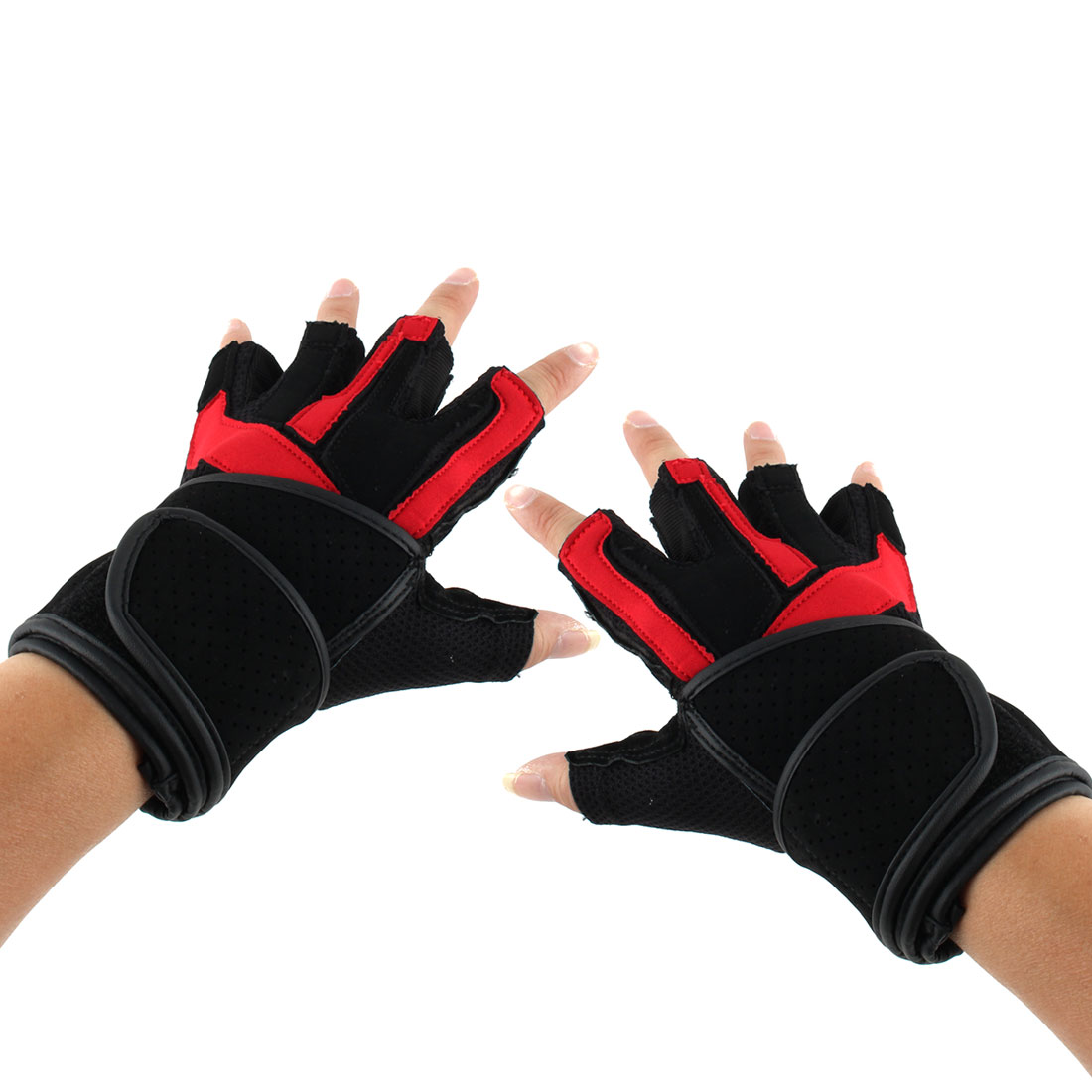 Men PU Leather Adjustable Sports Training Workout Half Finger Fitness Gloves Red M Pair