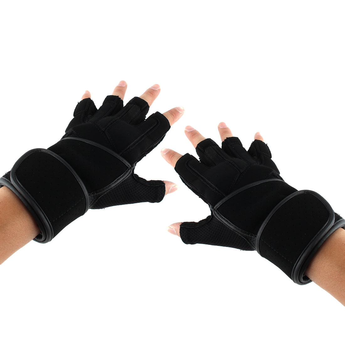BOODUN Authorized Men PU Leather Adjustable Sports Training Workout Half Finger Fitness Gloves Black S Pair