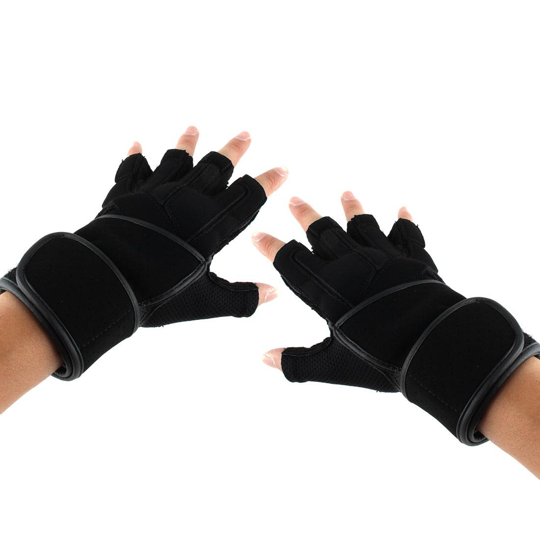 Men PU Leather Adjustable Sports Training Workout Half Finger Fitness Gloves Black M Pair