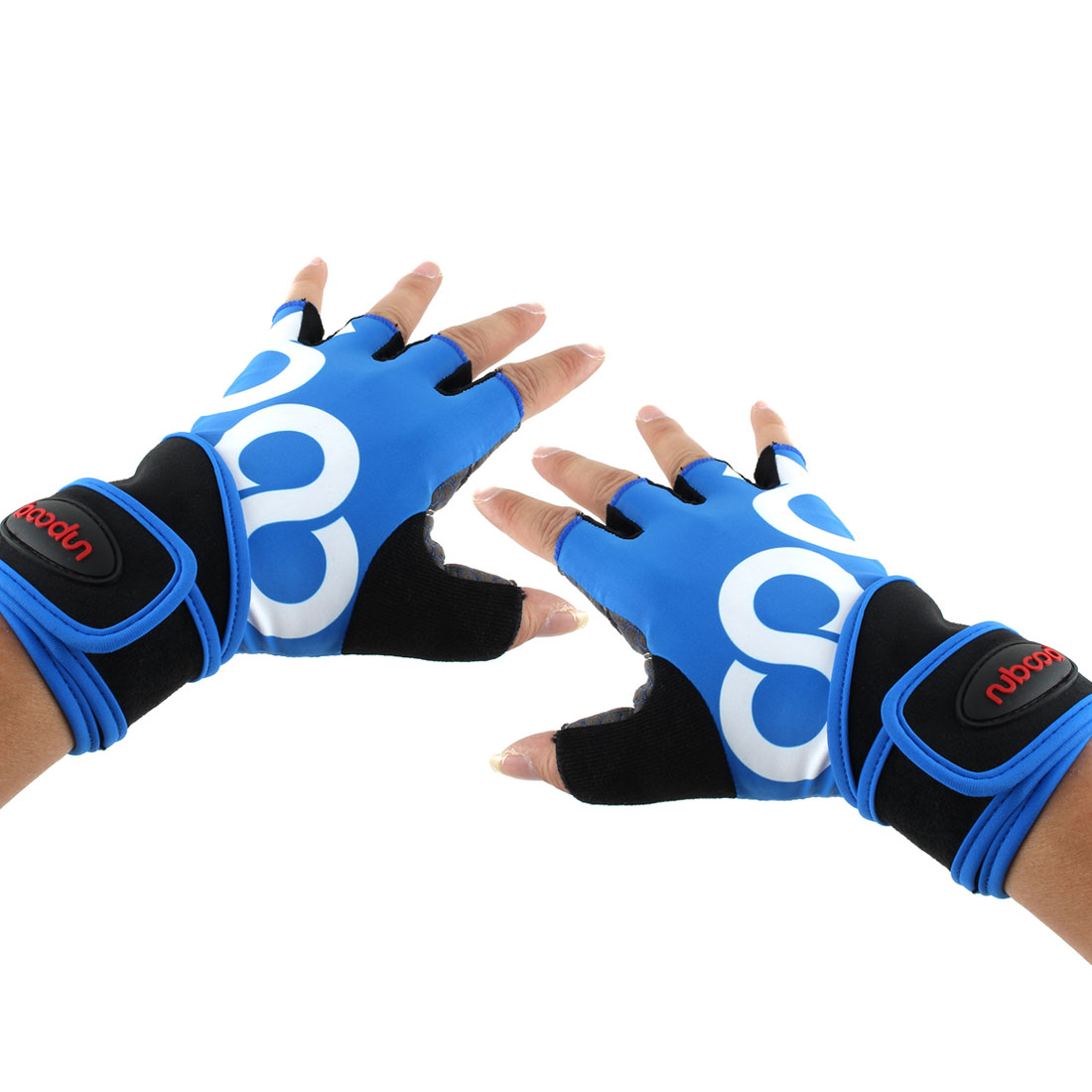Men Polyester Exercise Sports Weightlifting Training Workout Half Finger Fitness Gloves Blue M Pair
