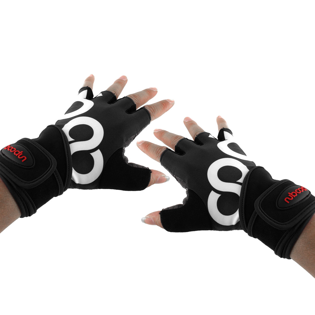 Men Polyester Exercise Sports Weightlifting Training Workout Half Finger Fitness Gloves Black L Pair