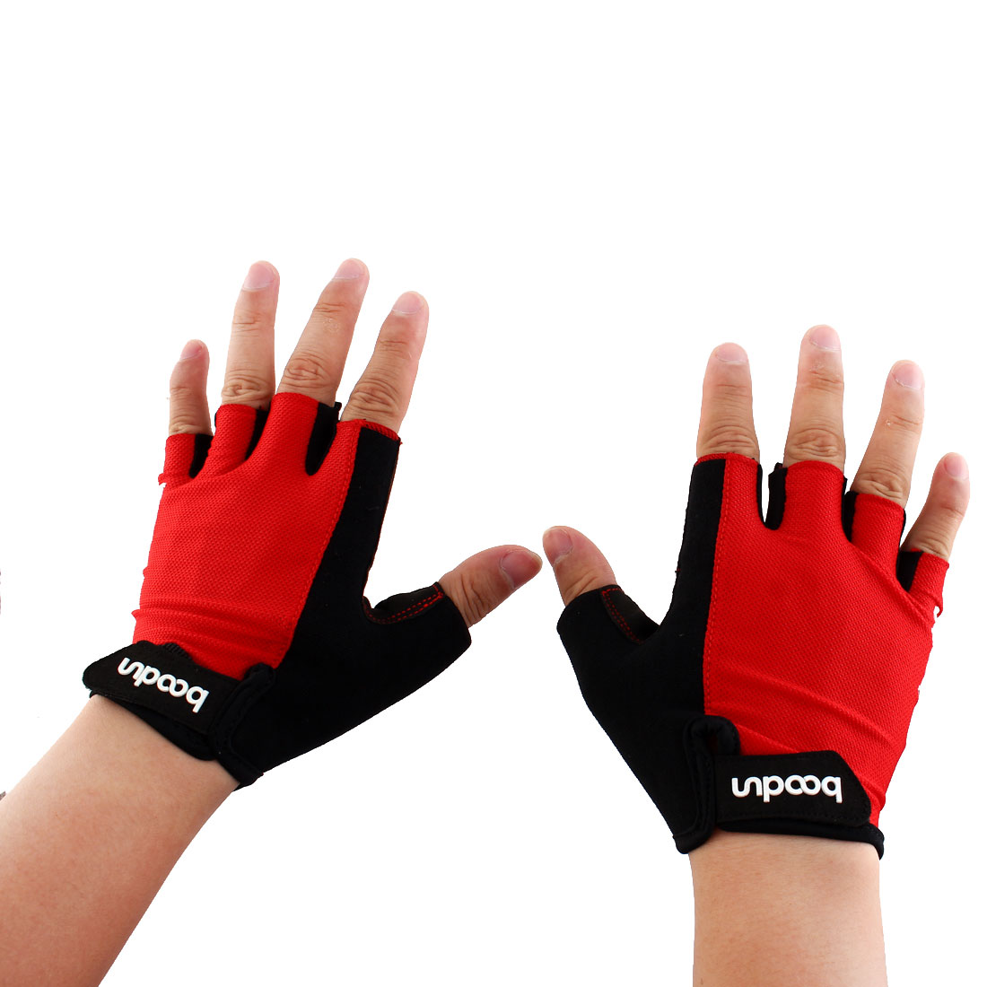 Boodun Authorized Outdoor Cycling Gym Workout Training Weight Lifting Half Finger Gloves Red Size M Pair for Men Women