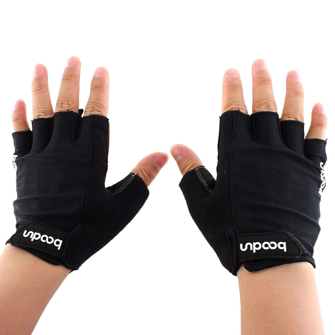 Boodun Authorized Outdoor Cycling Gym Workout Training Weight Lifting Half Finger Gloves Black Size M Pair for Men Women