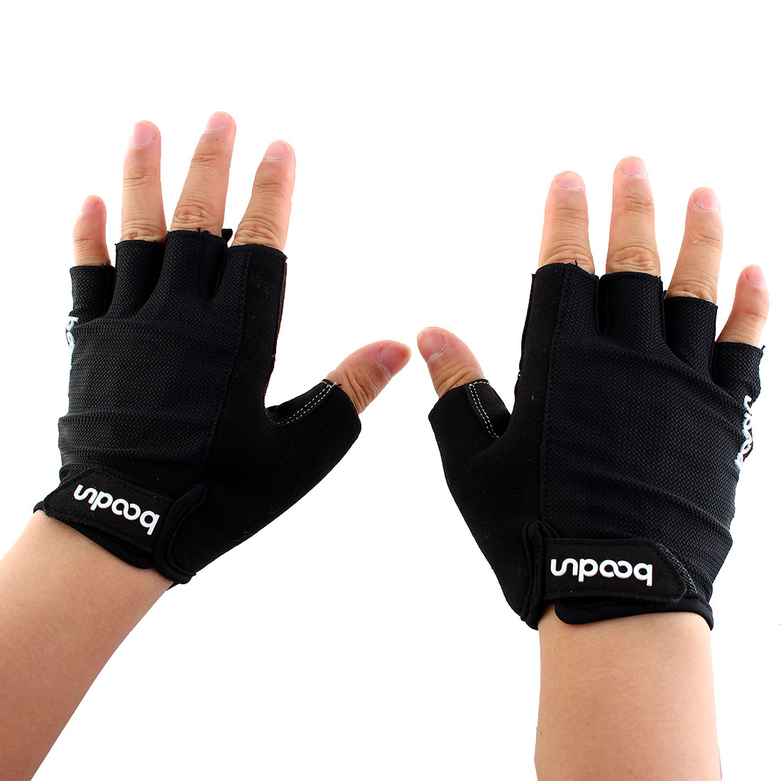 Boodun Authorized Outdoor Cycling Gym Workout Training Weight Lifting Half Finger Gloves Black Size L Pair for Men Women