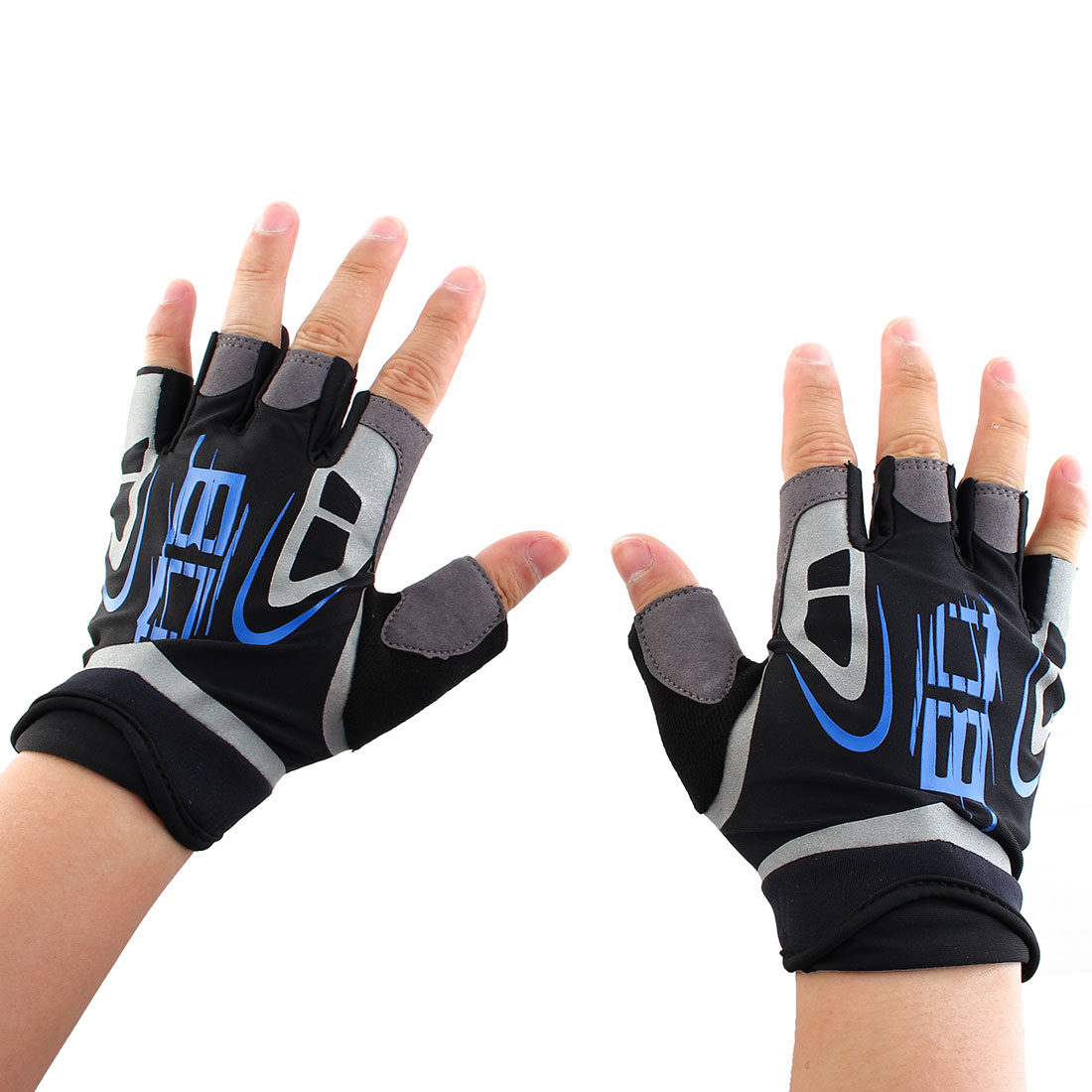 Boodun Authorized Outdoor Sports Cycling Gym Workout Training Exercise Weight Lifting Non-slip Half Finger Gloves Blue Size M Pair