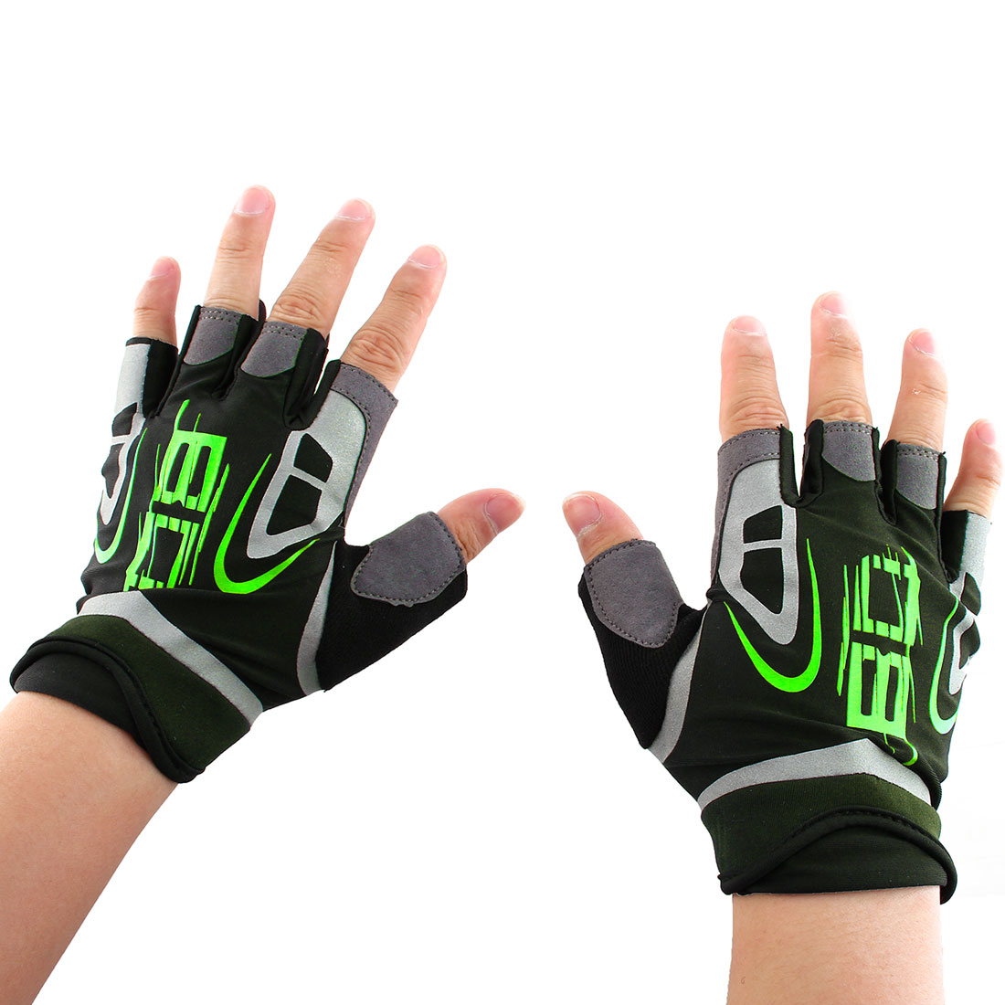 Boodun Authorized Outdoor Sports Cycling Gym Workout Training Exercise Weight Lifting Non-slip Half Finger Gloves Green Size XL Pair