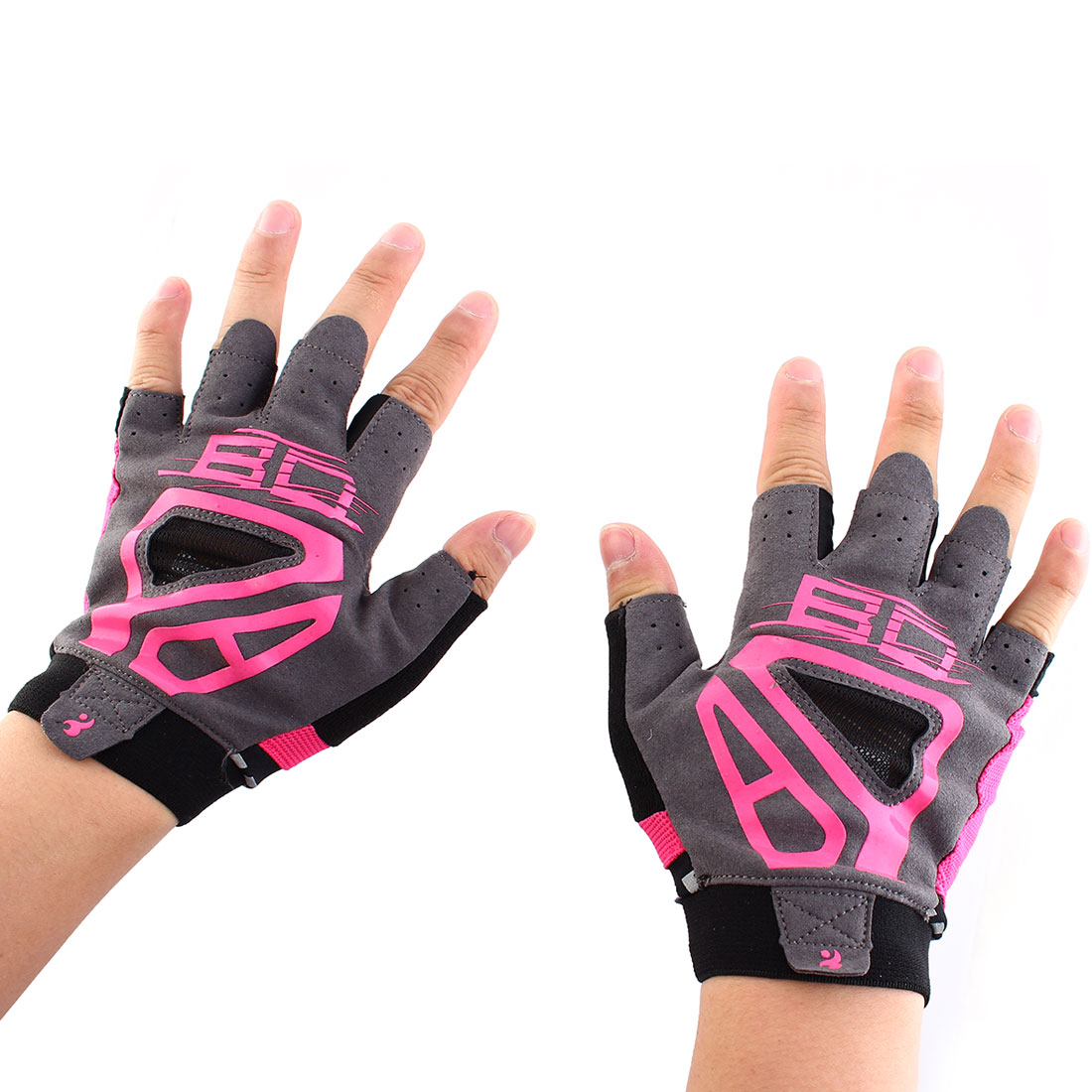 Boodun Authorized Outdoor Cycling Gym Workout Training Yoga Weight Lifting Half Finger Gloves Fuchsia Size L Pair