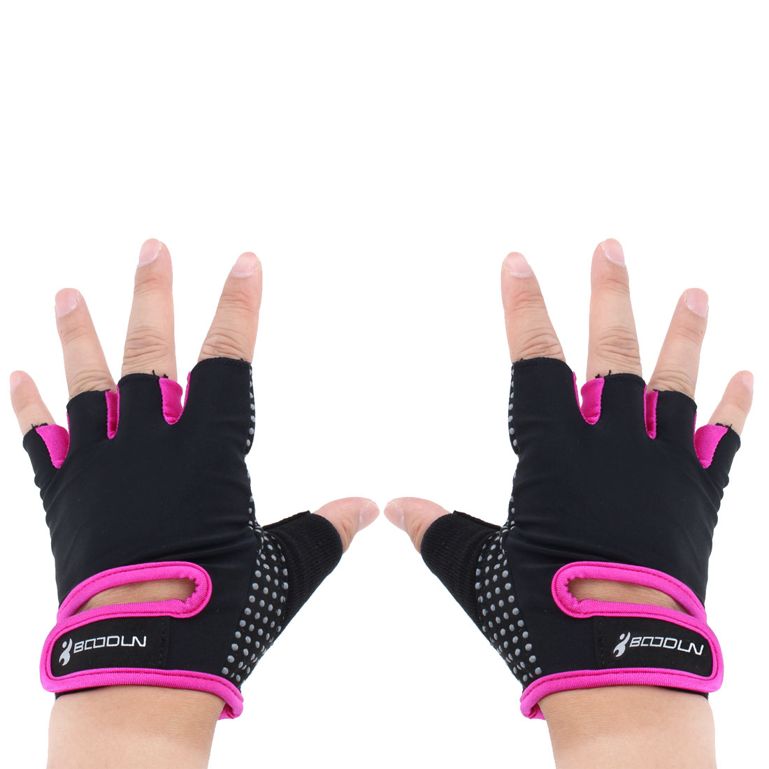 BOODUN Authorized Outdoor Weight Lifting Workout Training Adjustable Half Finger Fitness Gloves Purple L Size Pair