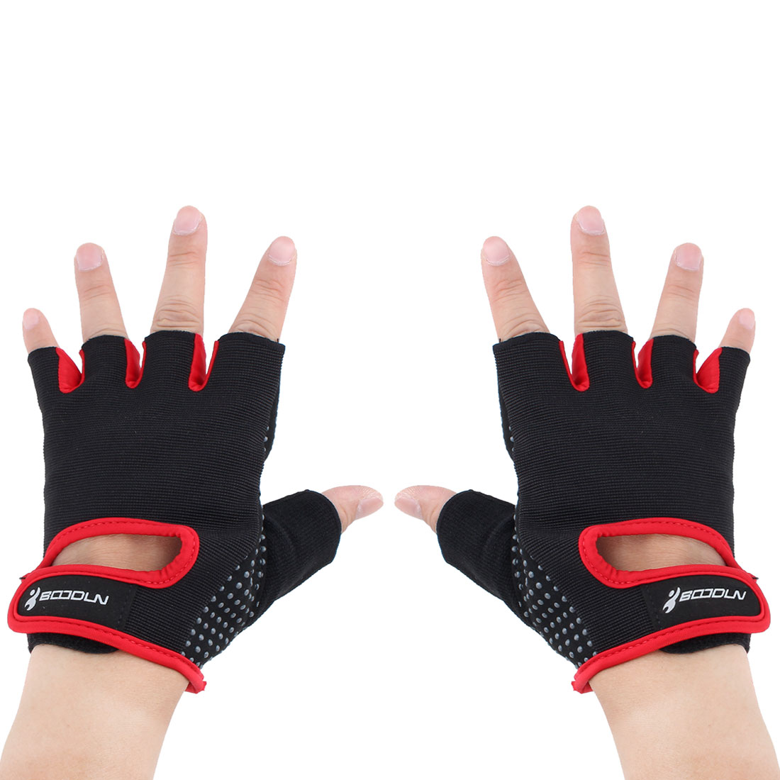 BOODUN Authorized Gym Workout Weight Lifting Training Adjustable Anti Slip Breathable Fitness Half Finger Gloves Red M Size Pair