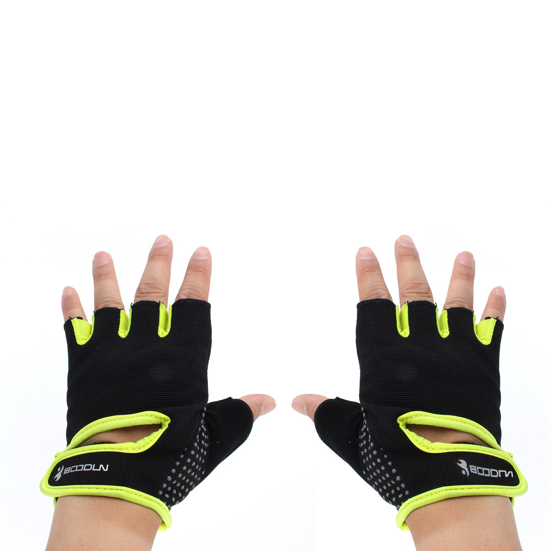 BOODUN Authorized Gym Workout Weight Lifting Training Adjustable Anti Slip Breathable Fitness Half Finger Gloves Yellow S Size Pair