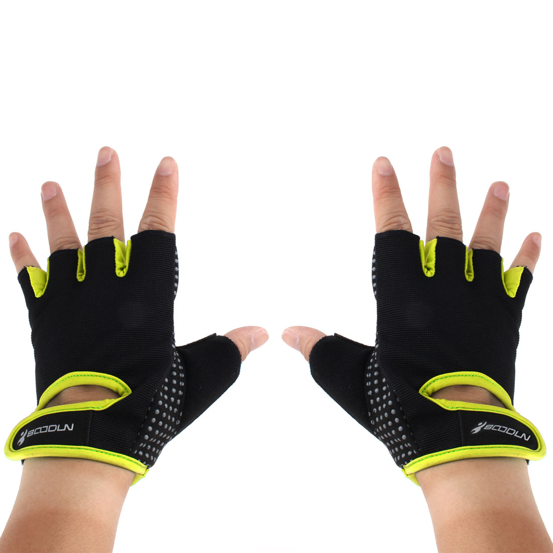 BOODUN Authorized Gym Workout Weight Lifting Training Adjustable Anti Slip Breathable Fitness Half Finger Gloves Yellow XL Size Pair