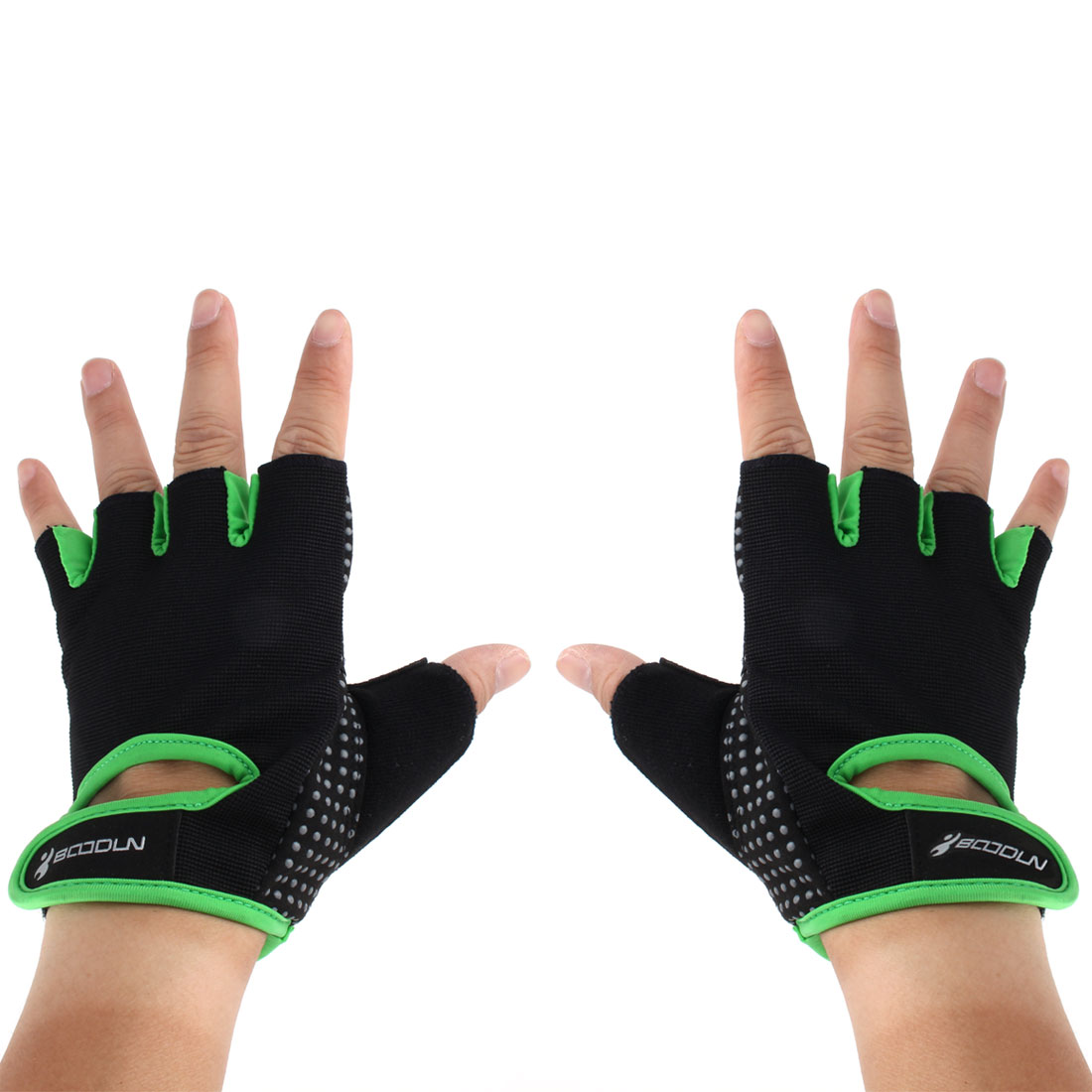 BOODUN Authorized Gym Workout Weight Lifting Training Adjustable Anti Slip Breathable Fitness Half Finger Gloves Green S Size Pair
