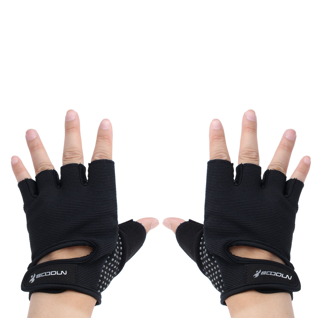 BOODUN Authorized Gym Workout Weight Lifting Training Adjustable Anti Slip Breathable Fitness Half Finger Gloves Black S Size Pair