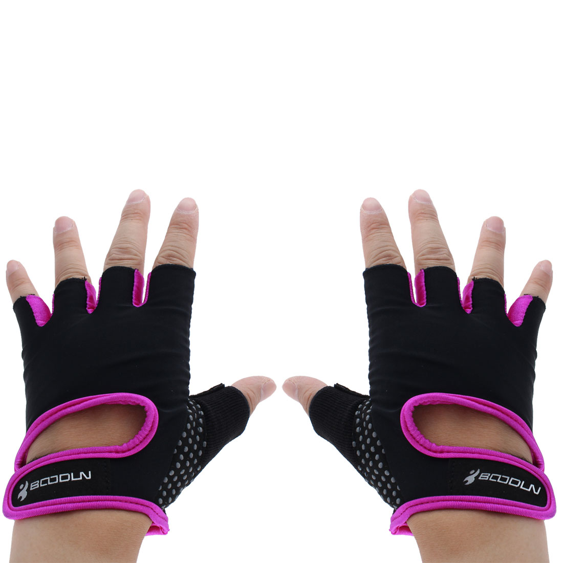 BOODUN Authorized Exercise Weight Biking Lifting Training Microfiber Non-slip Fitness Half Finger Gloves Purple S