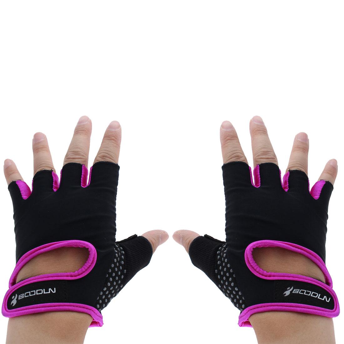 BOODUN Authorized Exercise Weight Biking Lifting Training Microfiber Non-slip Fitness Half Finger Gloves Purple L