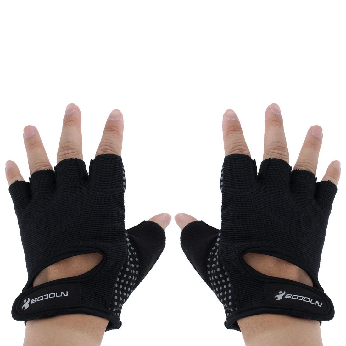 BOODUN Authorized Exercise Weight Biking Lifting Training Microfiber Non-slip Fitness Half Finger Gloves Black M