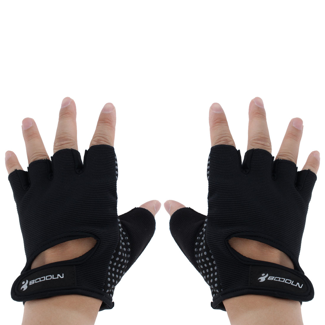 BOODUN Authorized Exercise Weight Biking Lifting Training Microfiber Non-slip Fitness Half Finger Gloves Black L