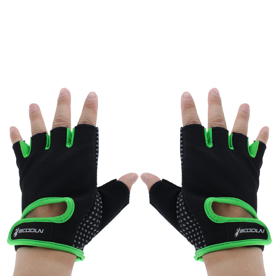 BOODUN Authorized Exercise Weight Biking Lifting Training Microfiber Non-slip Fitness Half Finger Gloves Green XL