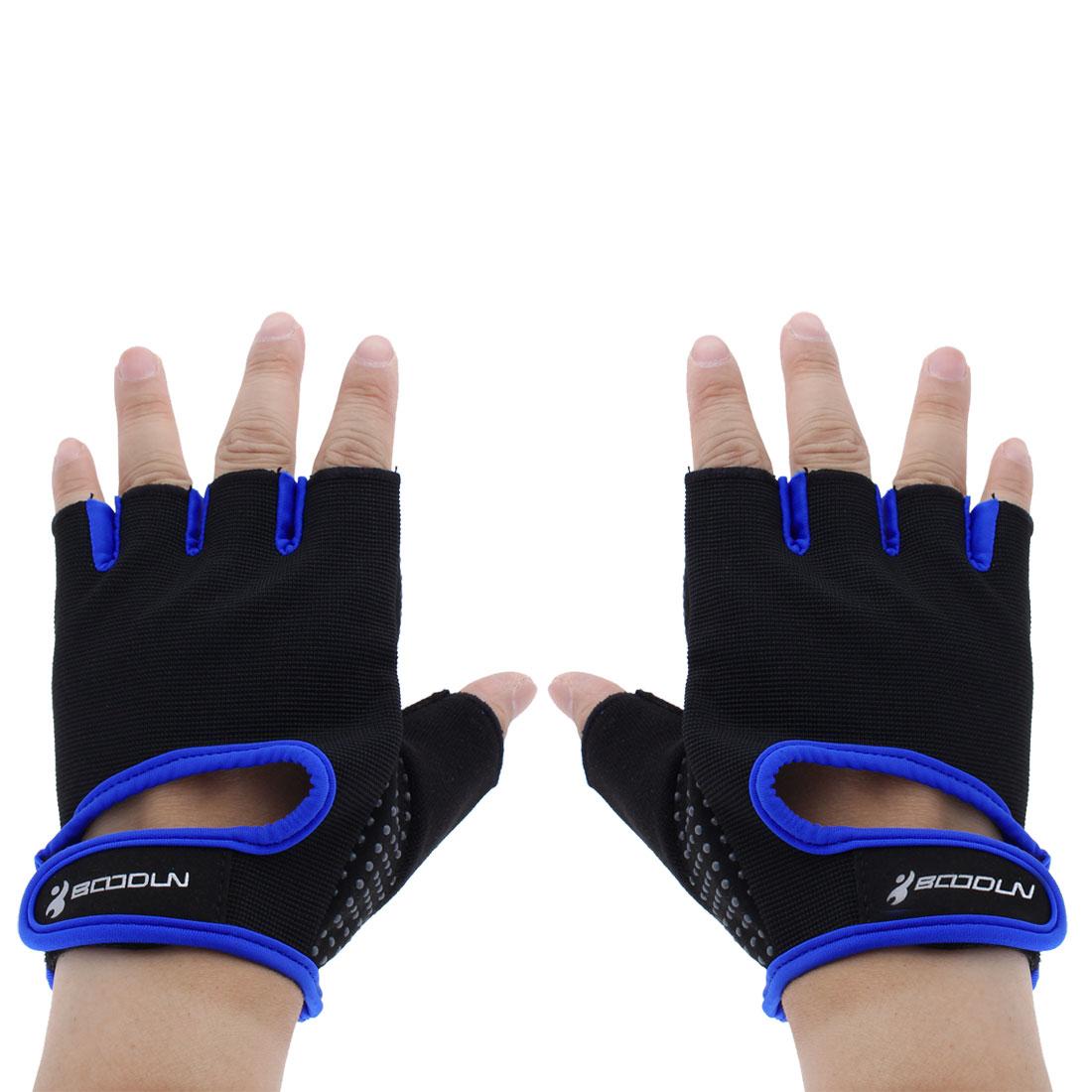 BOODUN Authorized Exercise Weight Biking Lifting Training Microfiber Non-slip Fitness Half Finger Gloves Blue S