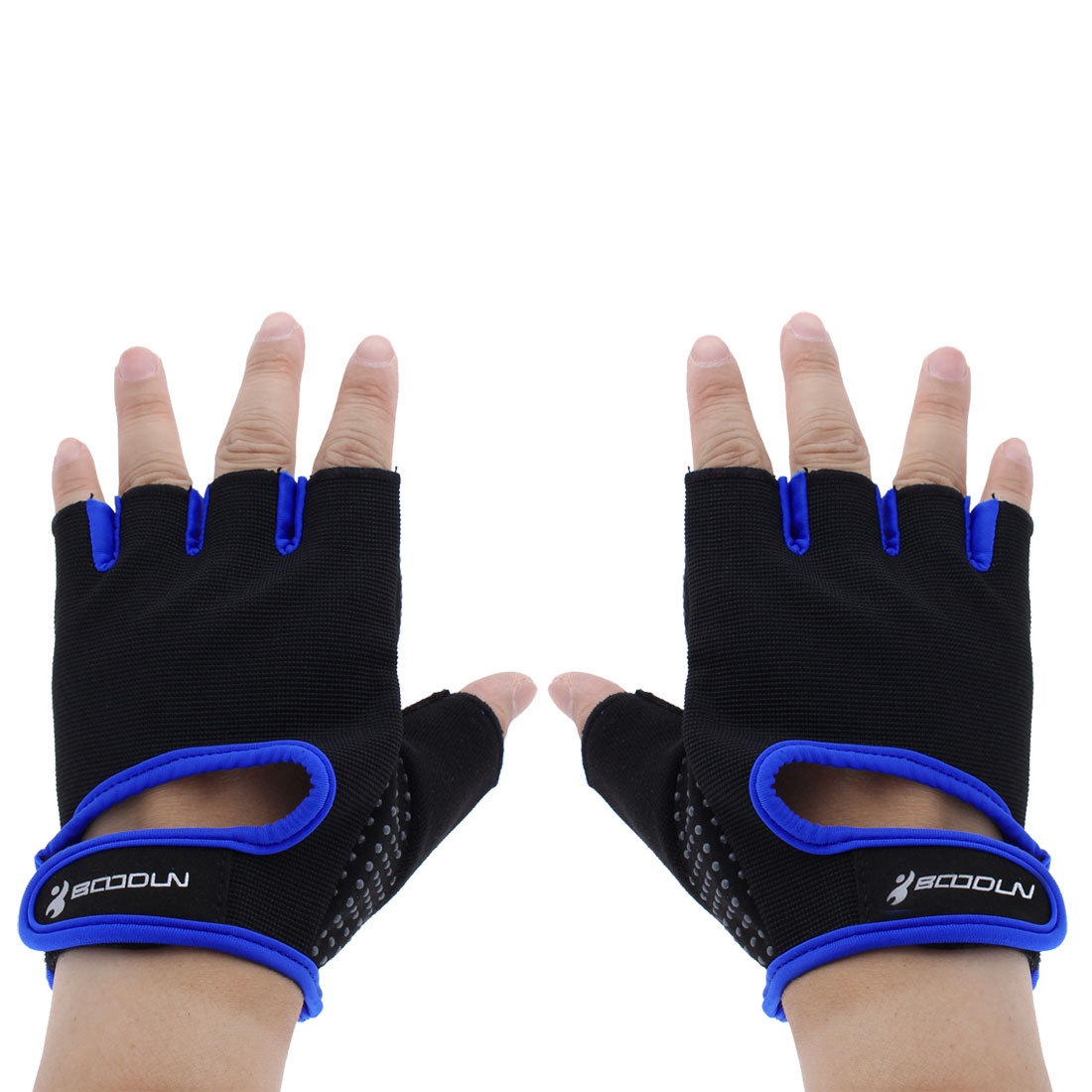 BOODUN Authorized Exercise Weight Biking Lifting Training Microfiber Non-slip Fitness Half Finger Gloves Blue L