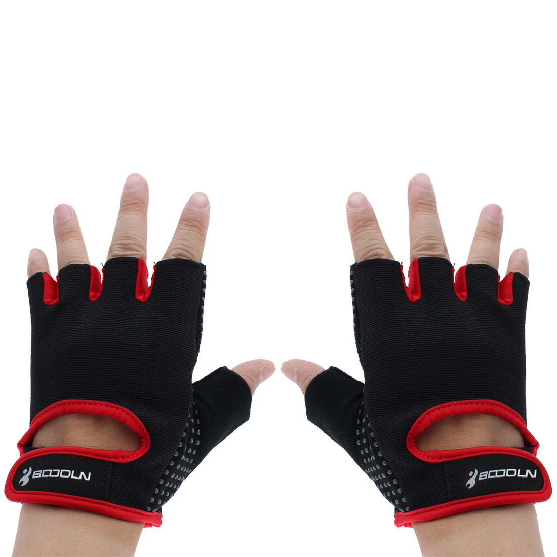BOODUN Authorized Exercise Weight Biking Lifting Training Microfiber Non-slip Fitness Half Finger Gloves Red M