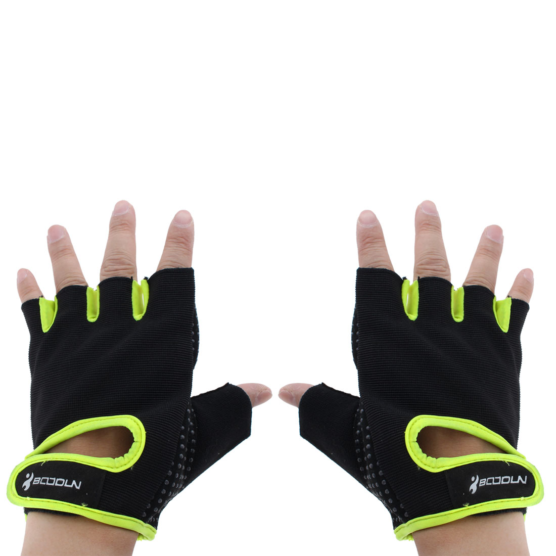 BOODUN Authorized Exercise Weight Biking Lifting Training Microfiber Non-slip Fitness Half Finger Gloves Fluorescent Green L