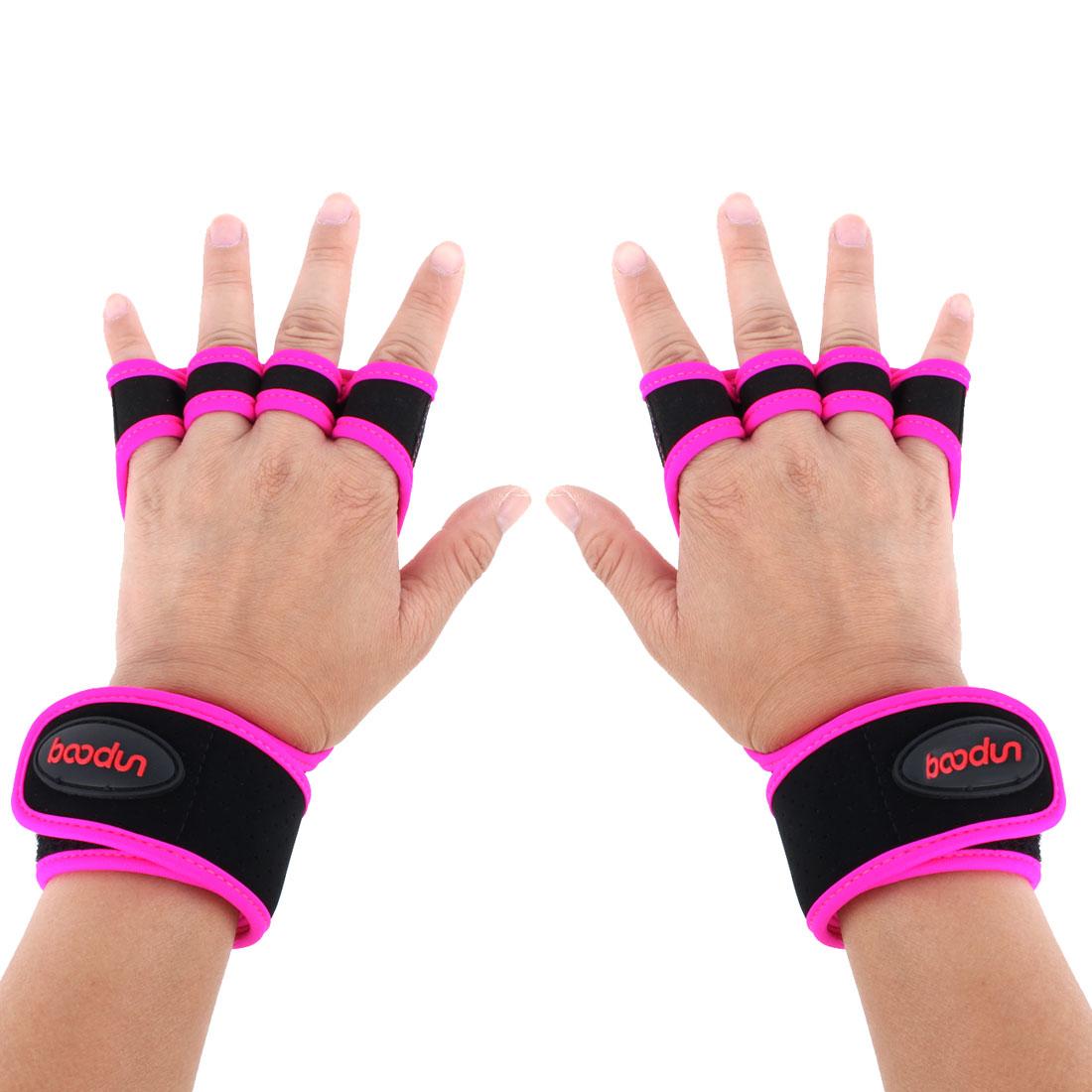 BOODUN Authorized Indoor Workout Training Sports Adjustable Anti Slip Fitness Gloves Fuchsia L Size Pair