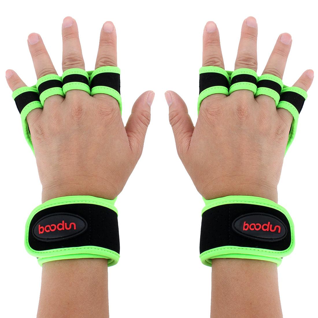 BOODUN Authorized Indoor Workout Training Sports Adjustable Anti Slip Fitness Gloves Green M Size Pair
