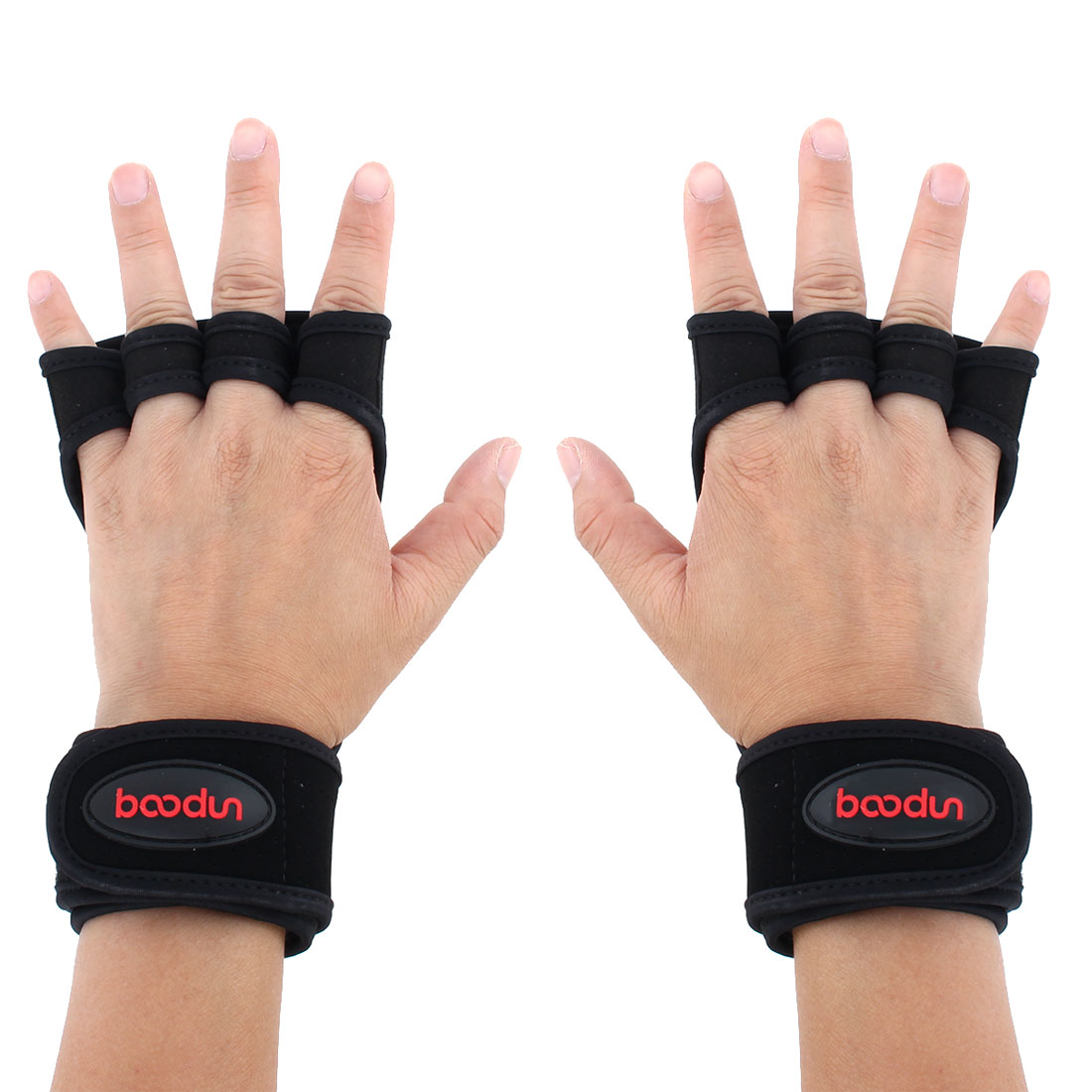 BOODUN Authorized Indoor Workout Training Sports Adjustable Anti Slip Fitness Gloves Black M Size Pair