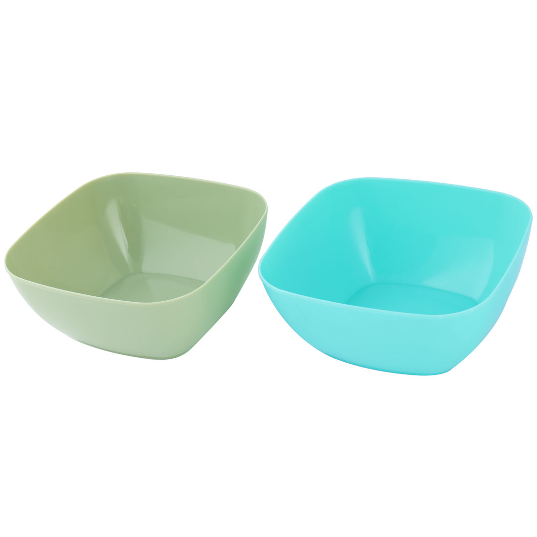 Family Plastic Food Fruit Vegetable Salad Snack Candy Holder Bowl Cyan Pale Green 2pcs
