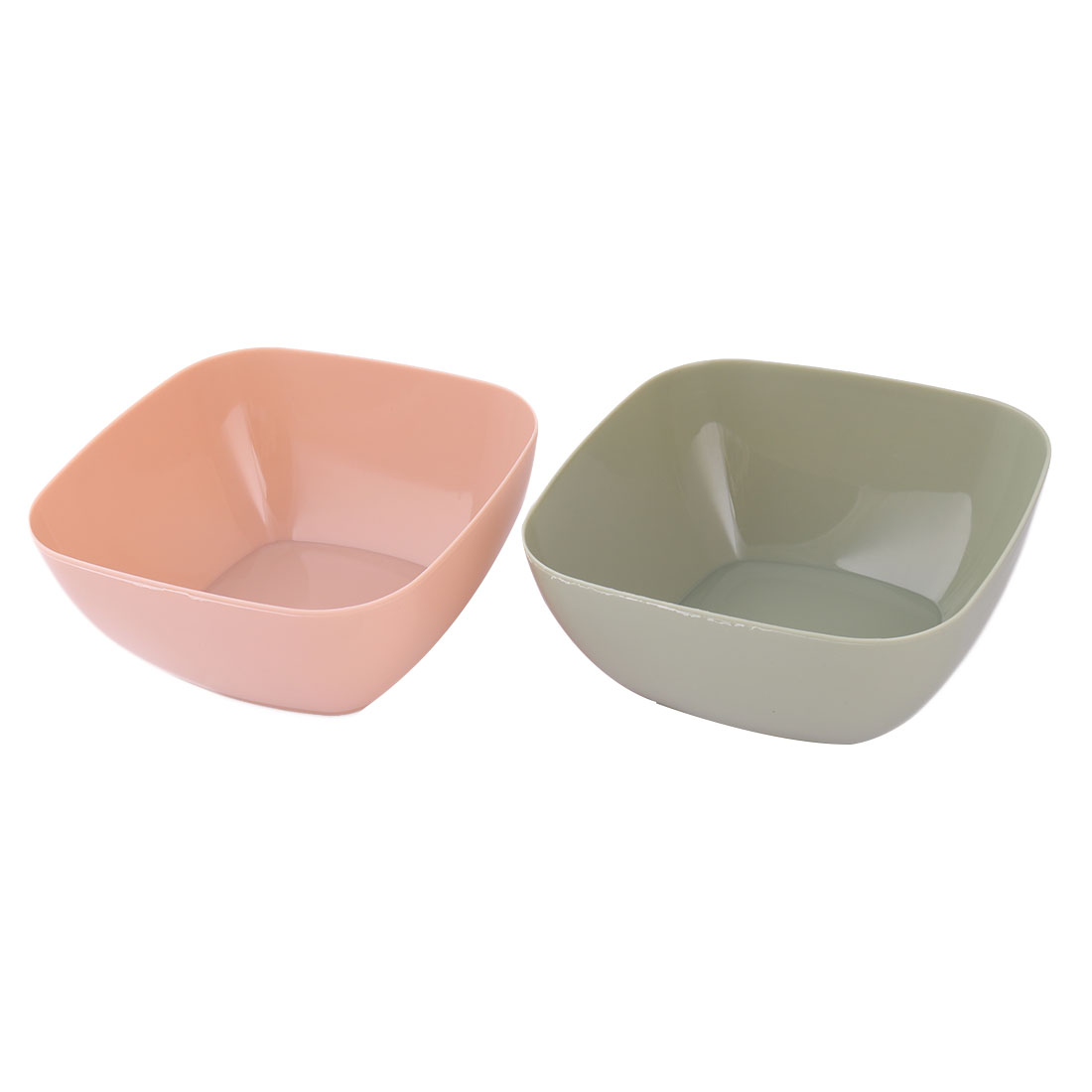 Family Plastic Food Fruit Vegetable Salad Snack Candy Holder Bowl Pink Pale Green 2pcs