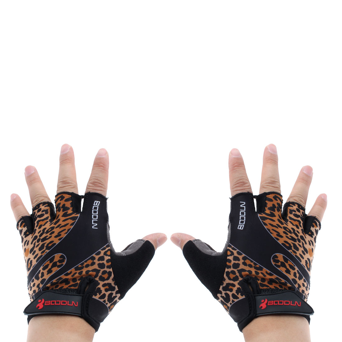 BOODUN Authorized Polyester Exercise Sports Lifting Training Bodybuilding Wrist Protector Half Finger Fitness Gloves Leopard Print L Pair