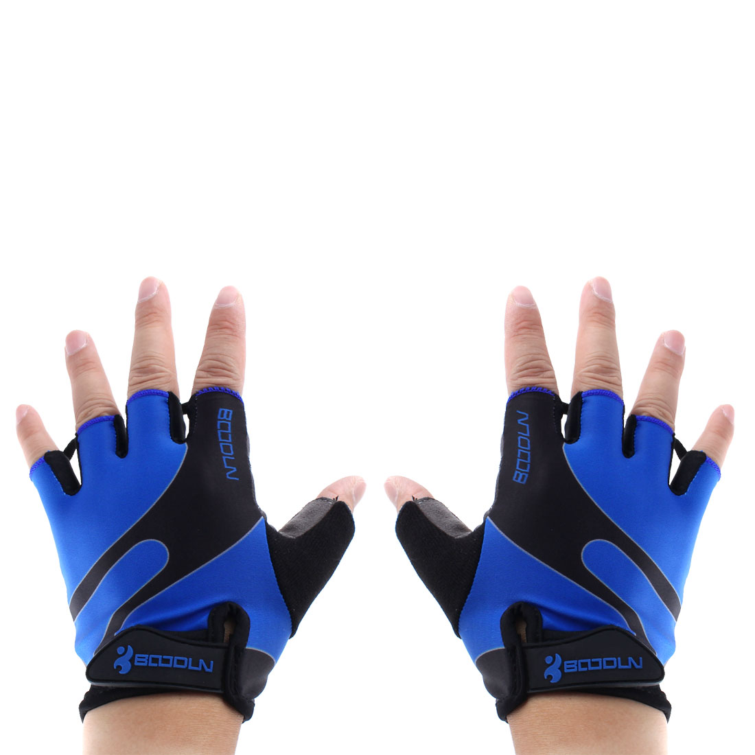 BOODUN Authorized Polyester Exercise Sports Lifting Training Bodybuilding Wrist Protector Half Finger Fitness Gloves Blue M Pair