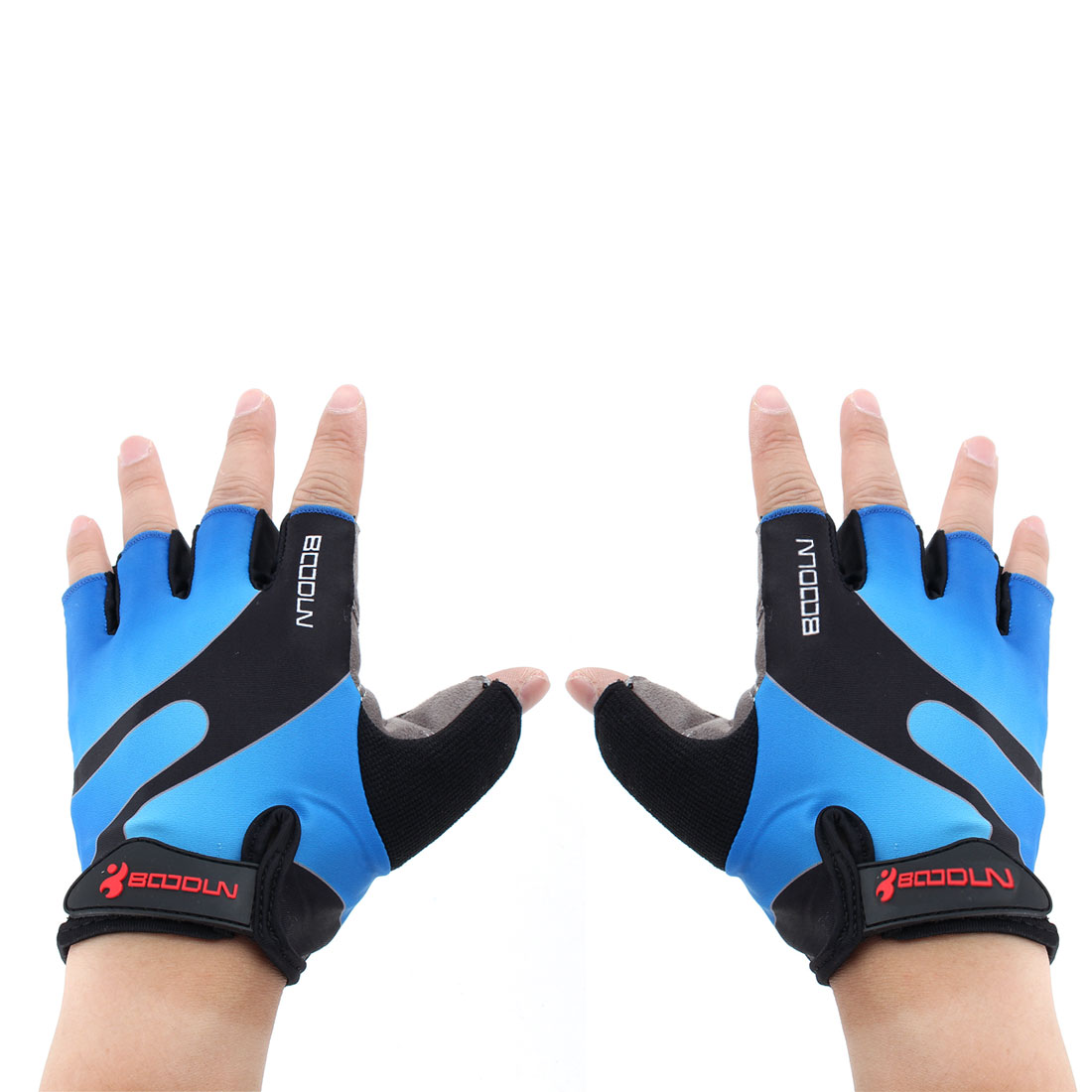 BOODUN Authorized Polyester Exercise Sports Lifting Training Bodybuilding Wrist Protector Half Finger Fitness Gloves Blue XL Pair