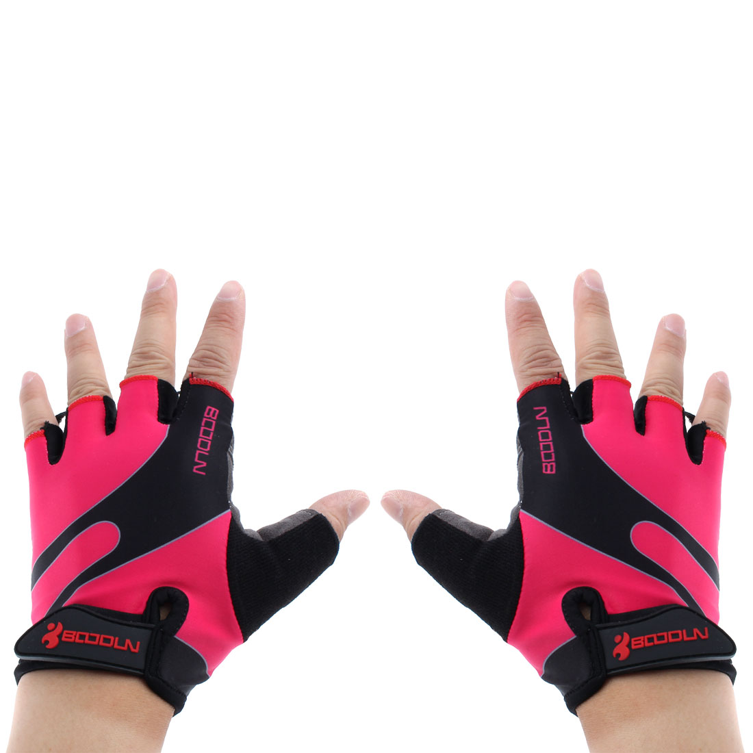 BOODUN Authorized Polyester Exercise Sports Lifting Training Bodybuilding Wrist Protector Half Finger Fitness Gloves Fuchsia XL Pair